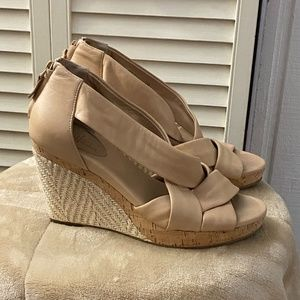 Cole Haan Tan Leather Cross Strap Cork Wedges